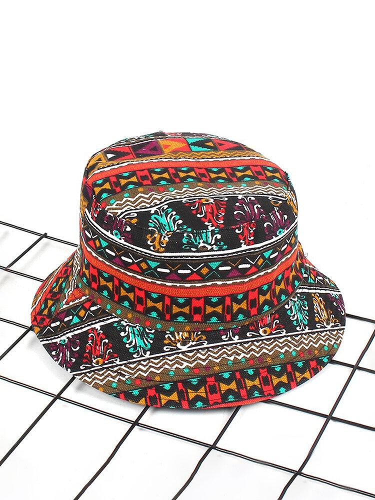 Womens Ethnic Style Outdoor Vacation Bucket Hat Sunshade Anti-UV Sun Hats