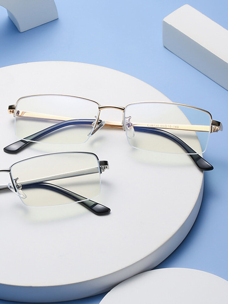 Men Anti-Blue Glasses Flat Mirror Half Frame Women Eye Protection Myopia Eyeglasses Frame