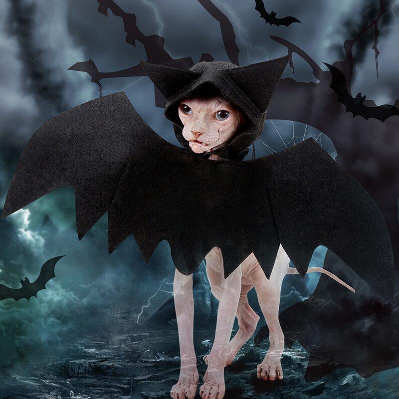 Halloween Pet Bat Wings Black Cool Puppy Cat Bat Hooded Costume