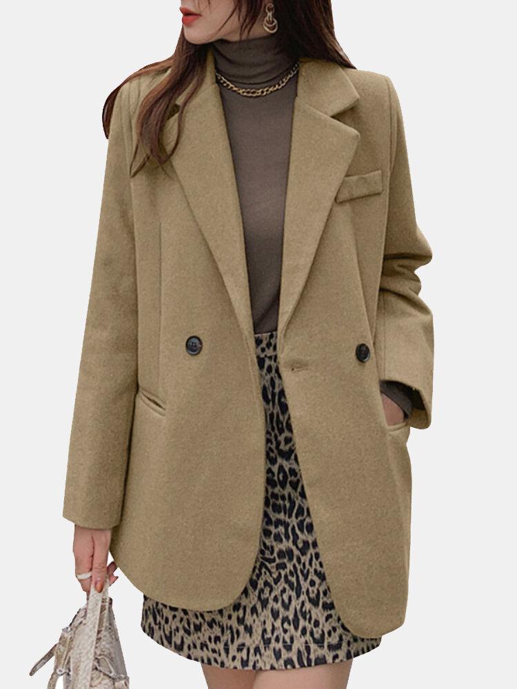 Einfarbiger Langarm-Blazer mit Reverskragen für Damen