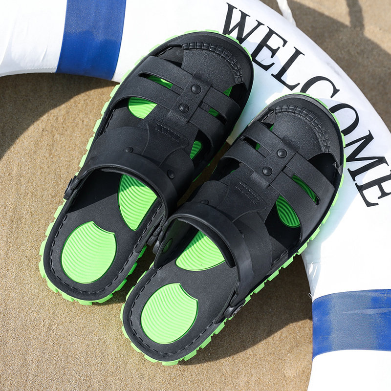 Men Closed Toe Hole Slip On Water Friendly Casual Beach Sandals