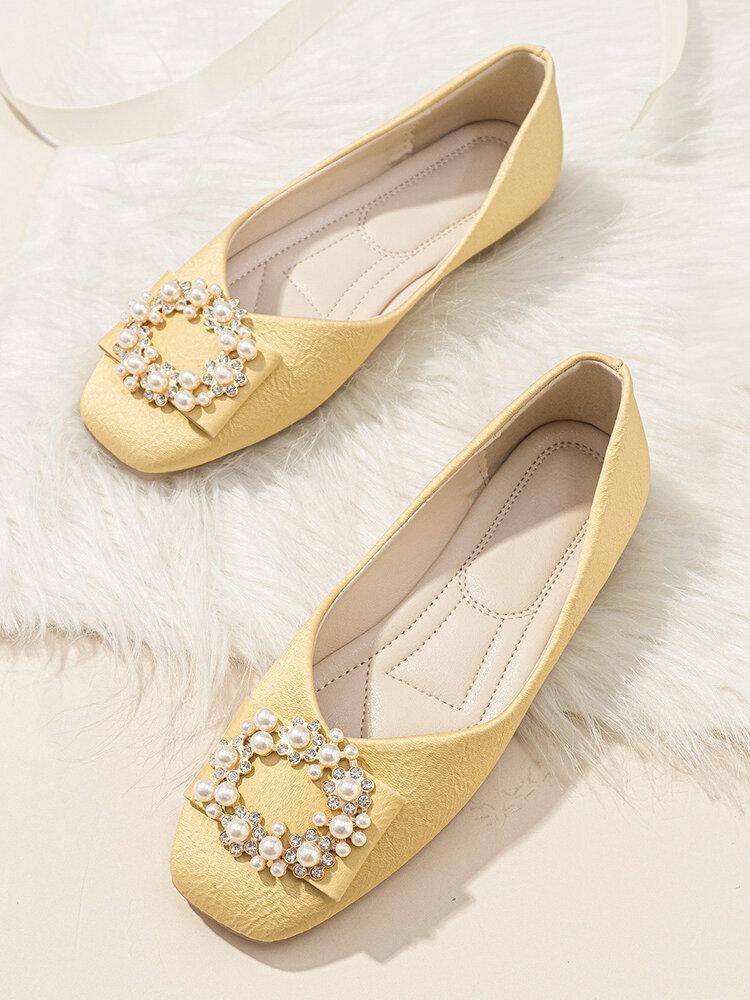 Women Fashion Elegant Pearls Decor Ballet Shoes Loafers Comfy Square Toe Soft Flats