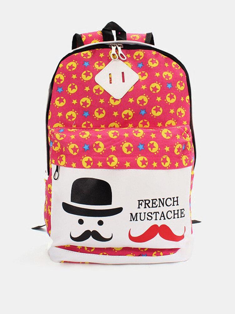 New Flower Print Convas Backpack Cute Cartoon School Bag Satchel