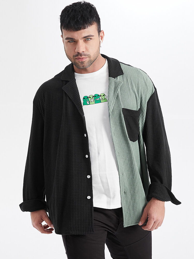 Plus Size Mens Jacquard Contrast Patchwork Revere Collar Casual Long Sleeve Shirts