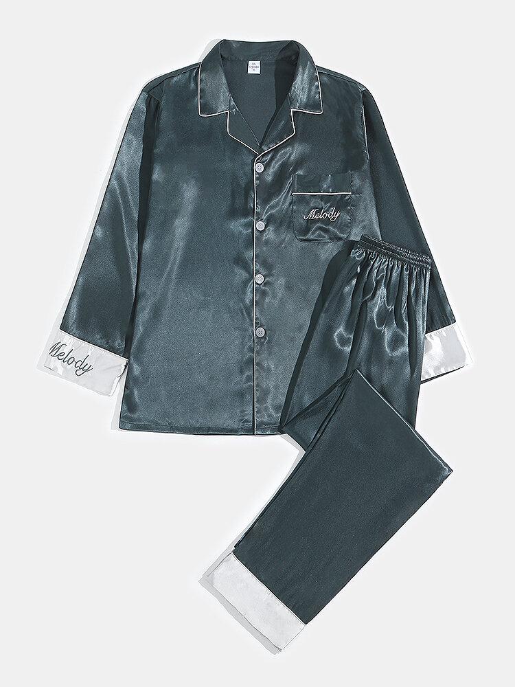 Conjunto de pijama de botones de manga larga con bordado de letras cómodas de satén para hombre con bolsillo