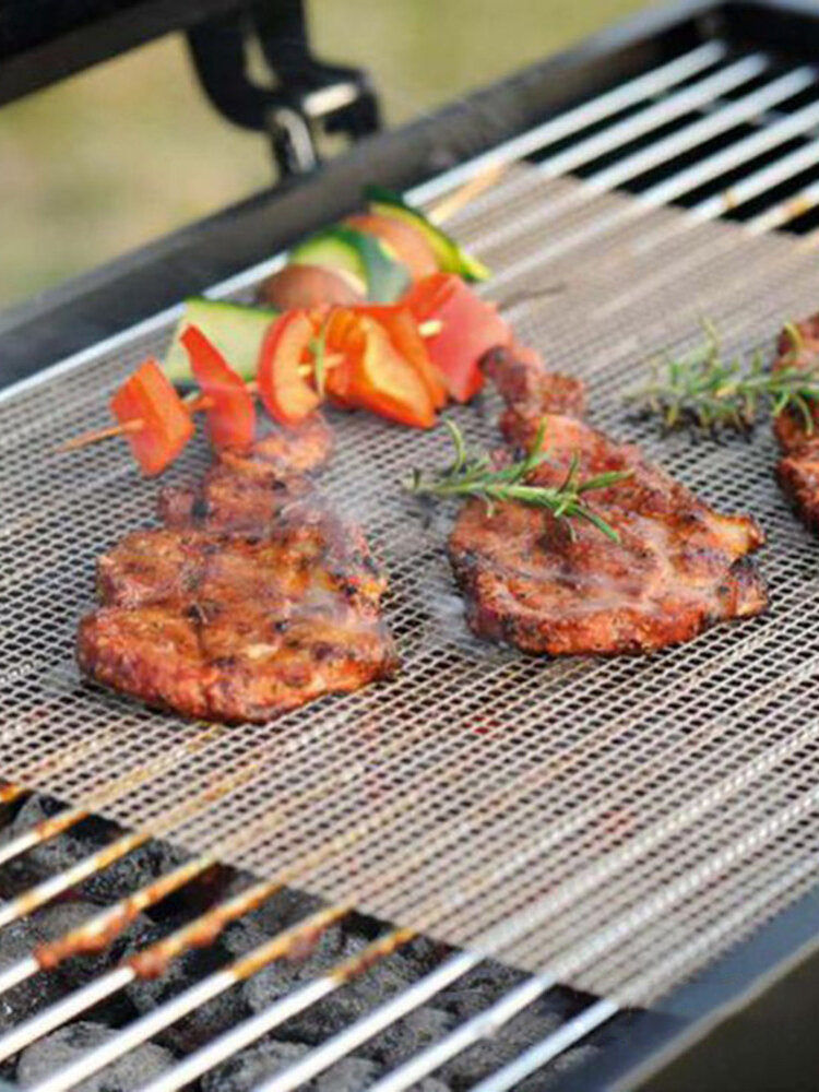 Non Stick BBQ Mesh Grill Mat Cooking Sheet Barbecue Liner Roaster Tools Accessories