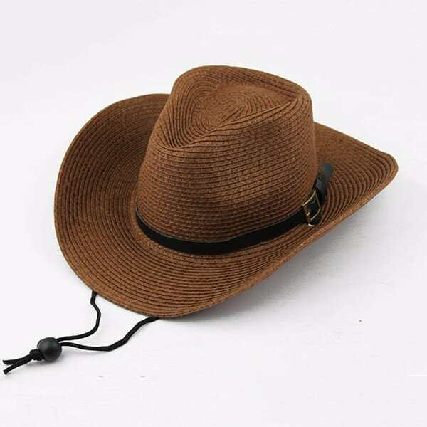 Men Women Straw Wide Brim Sun Hat Cowboy Cap Summer Beach Sun Hats