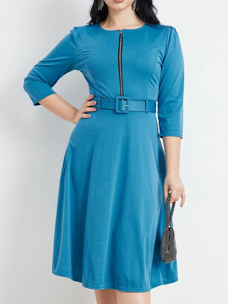 Zip Front Solid Color O-neck 3/4 Length Sleeve Casual Dress With Belt