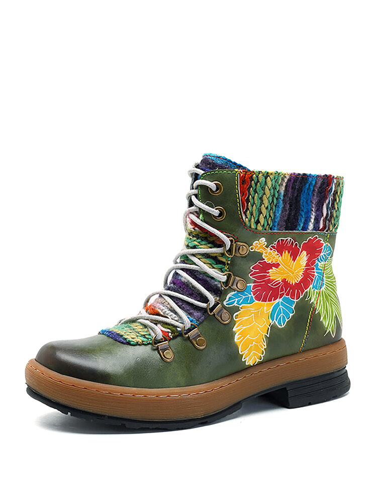 SOCOFY Bohemian Handmade Pattern Lace Up Ankle Flat Leather Boots