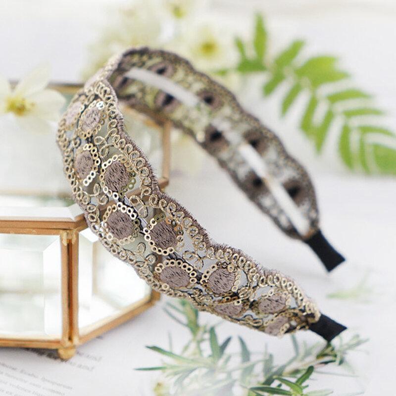 Vintage Lace Hairband Bohemian Geometric Diamond Sequins Embroidered Fabric Headband