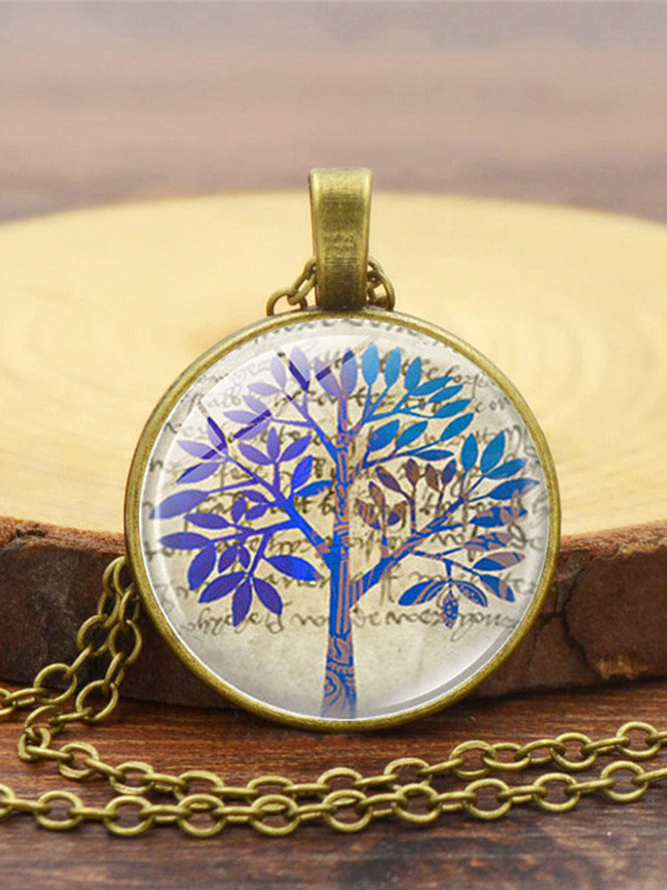 Vintage Glass Printed Women Necklace Tree Of Life Clavicle Chain Pendant Jewelry