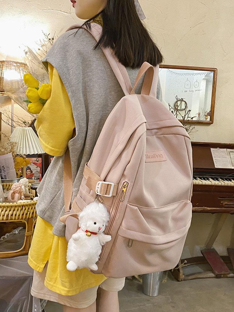 Preppy Soild Nylon Large Capacity Multi-pockets Splashproof Outdoor Travel Backpack