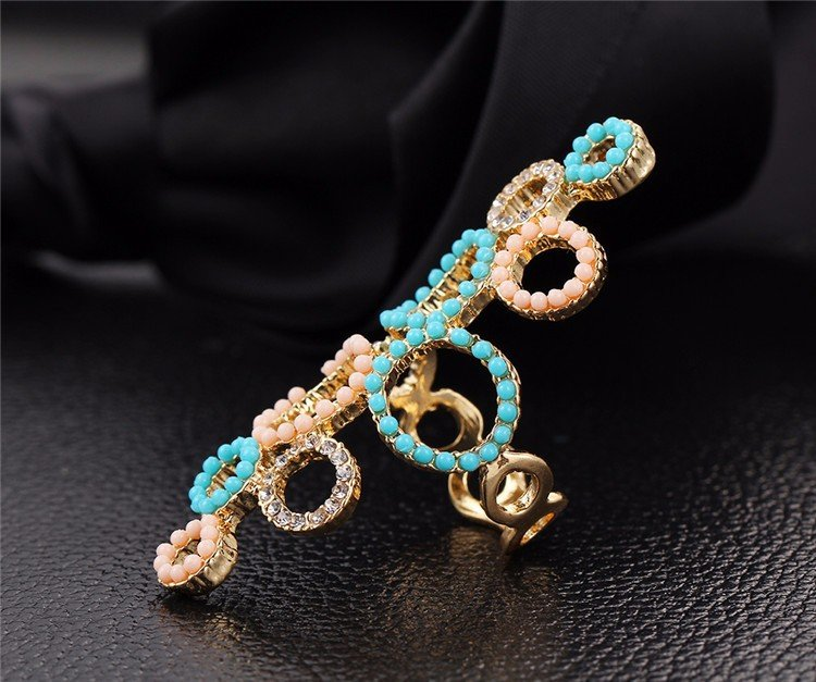 Simple Creative Circle Exaggerated Rhinestone Crystal Beads Ring