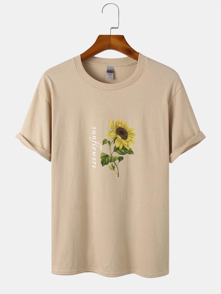 Mens Sunflower Print Round Neck Loose Cotton Short Sleeve T-Shirts