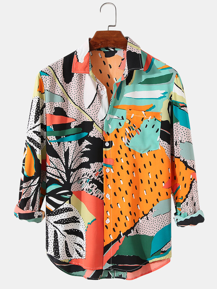 Mens Leaf & Mixed Print Holiday Casual Fit Long Sleeve Shirts With Pocket