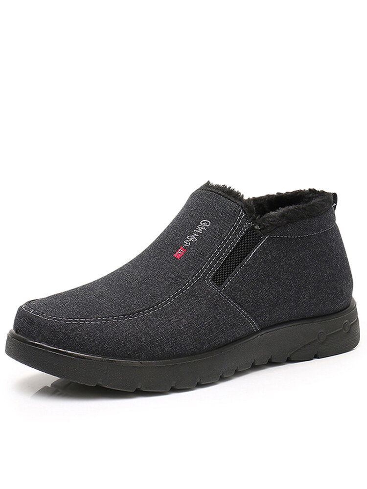 Men Old Peking Cloth Warm Plush Lining Casual Ankle Boots