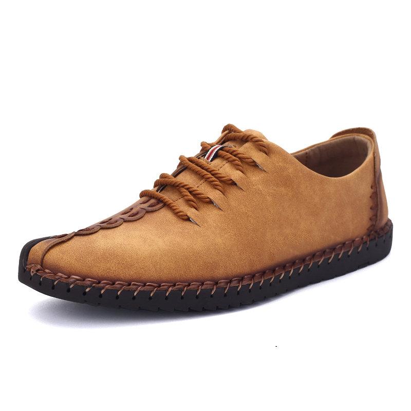 Uomo British Style Retro Stiching Soft Scarpe casual con lacci