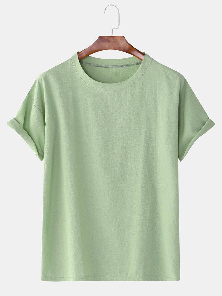 メンズコットンリネン8色ソリッドラウンドネックルーズ半袖カジュアルTシャツ