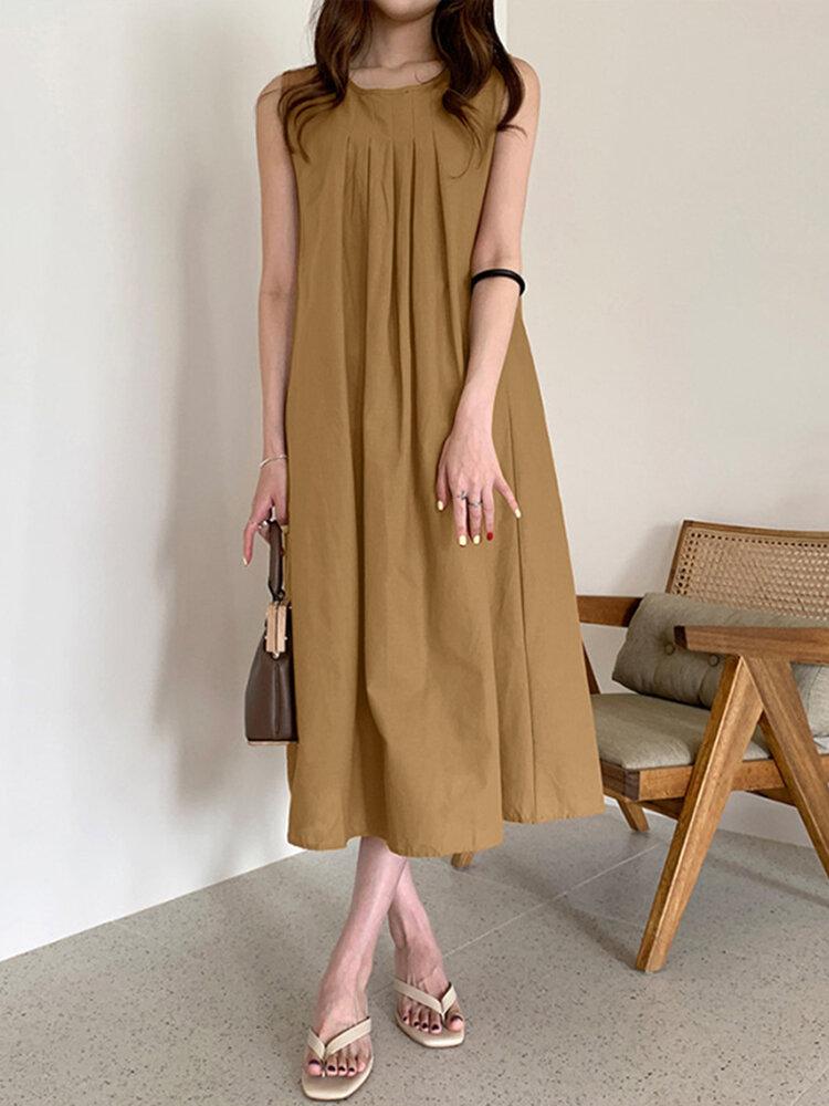 Solid O-neck Pleated Sleeveless Pocket Women Casual Dress