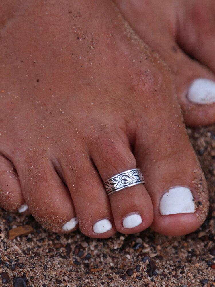 Bohemian Totem Pattern Sun Flower Foot Rings Silver Hollow Stars Toe Rings Bohemian Jewelry