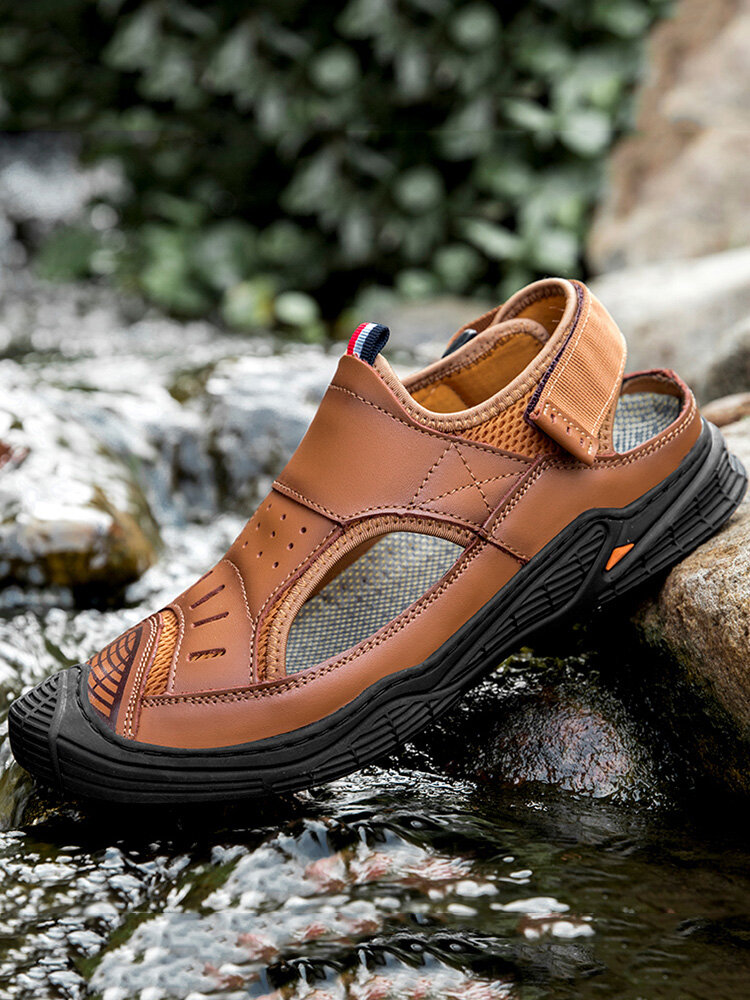 Men Cow Leather Non Slip Hook Loop Outdoor Soft Casual Sandals