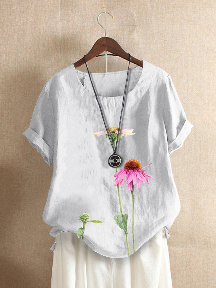 Flower Print O-neck Short Sleeve Casual T-Shirt For Women