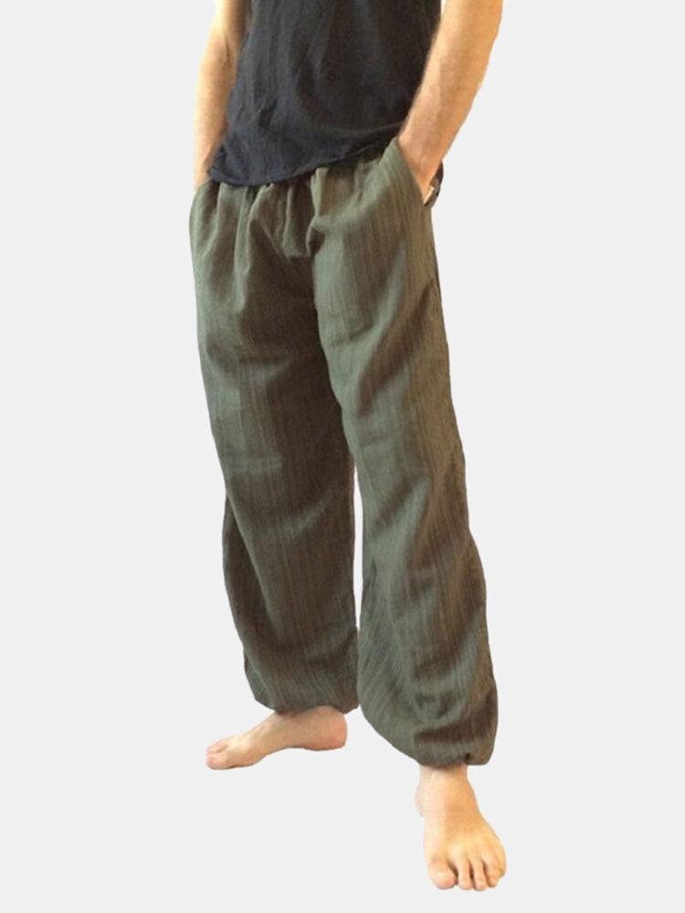 Harem holgado informal para hombre Pantalones Pierna ancha suelta de color sólido Pantalones Cómodo Yoga Pantalones