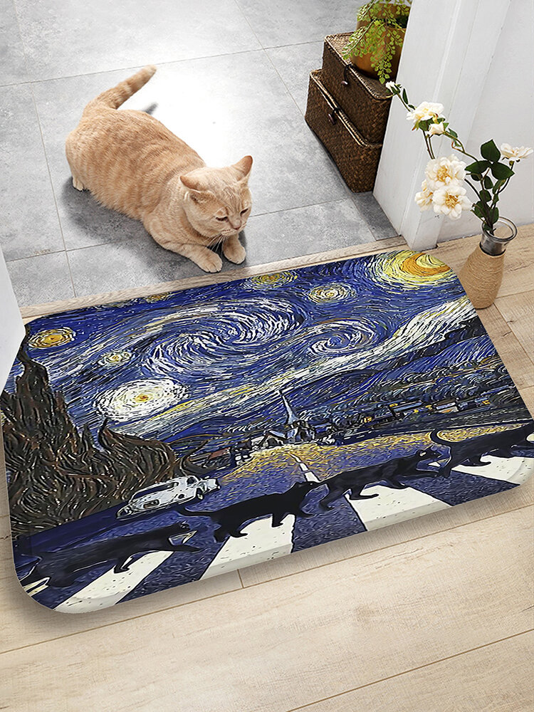Katzen Muster Fußmatten Flanell Wasseraufnahme Rutschhemmende Fußmatte Badezimmertürmatte