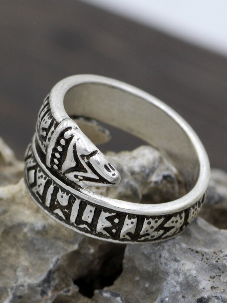 Vintage Trendy Carved Double-headed Snake Opening Adjustable Alloy Rings