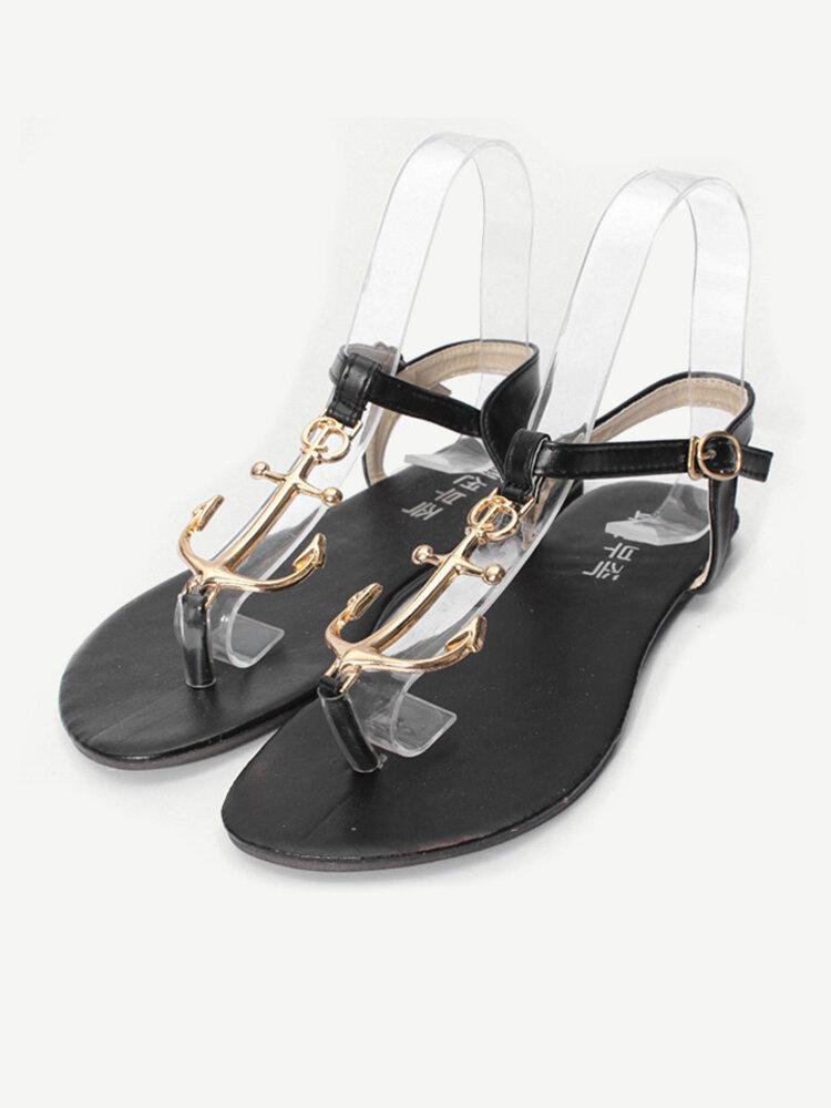 Pirate Anchor Metal Clip Toe Flat Sandals
