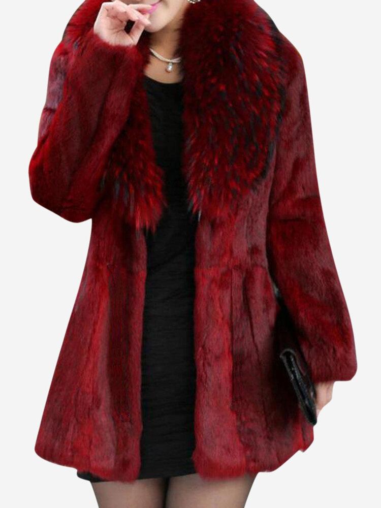 new concept 598ef 5c73e Cappotti di pelliccia sintetica allentati casuali di colore solido