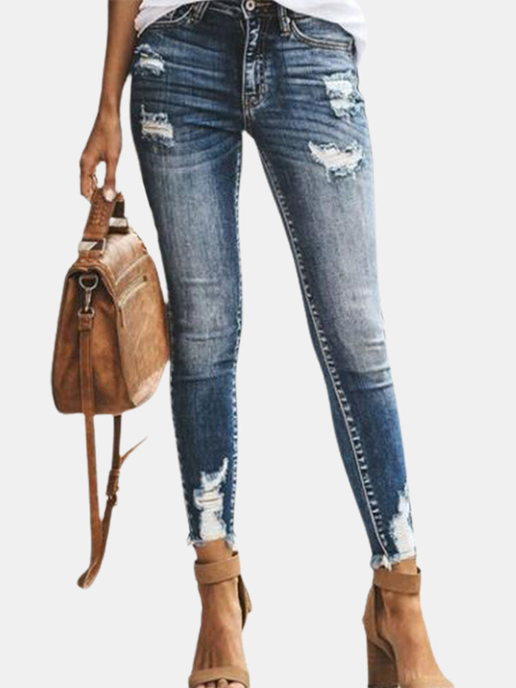 Ripped Denim High Rise Skinny Jeans Straight Trousers