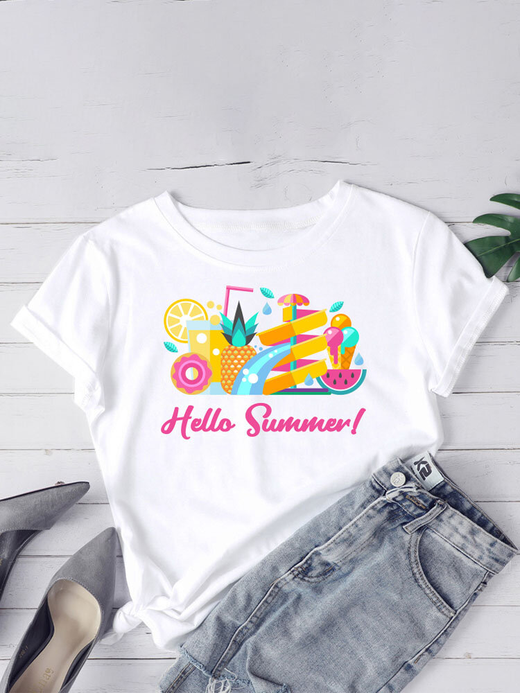 Summer Print O-neck Plus Size Casual T-shirt