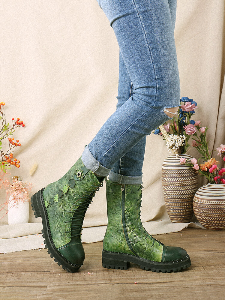 SOCOFY Natural Ginkgo Leaf Print Embossed Leather Comfy Wearable Casual Short Boots