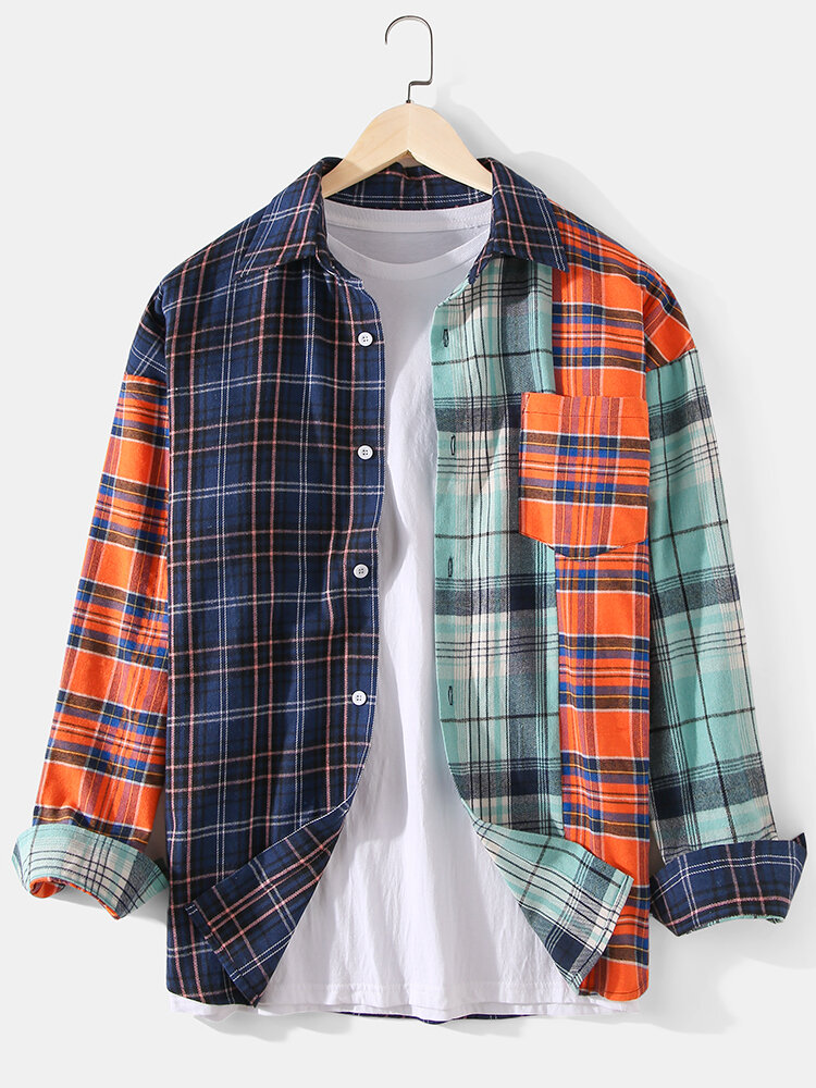 Mens Plaid Patchwork Cotton Drop Sleeve Lapel Long Sleeve Shirts With Pocket