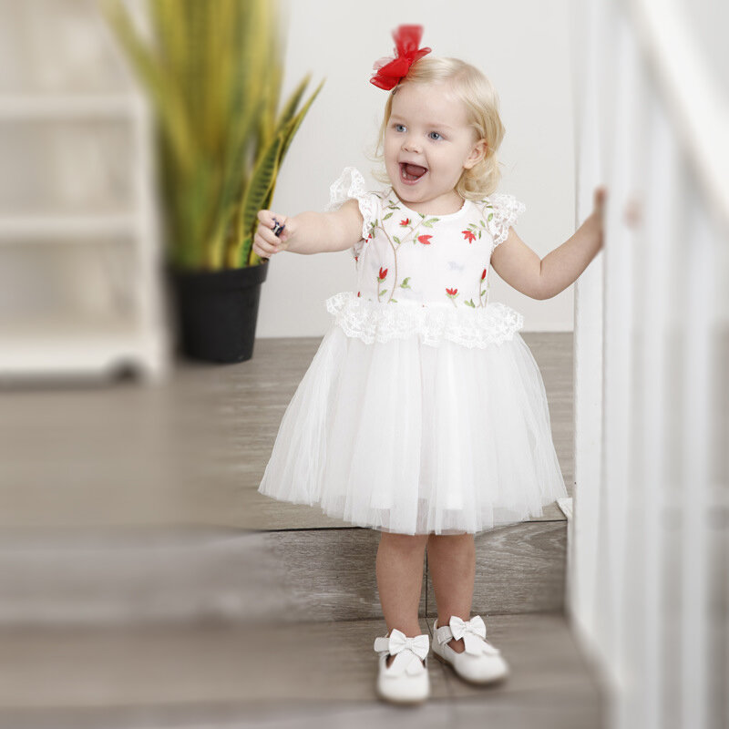 Flower Embroidery Lace Toddler Girls Short Sleeve Party Formal Princess Dress For 1Y-9Y