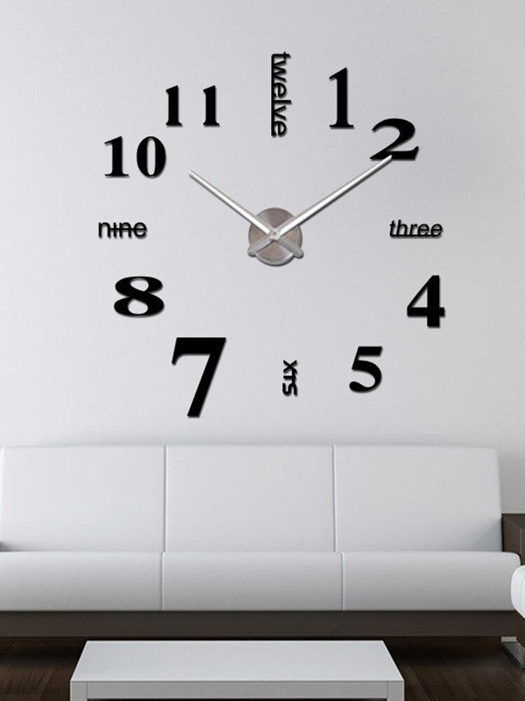 Horloge murale miroir acrylique numérique 3D stéréo bricolage moderne Simple peinture murale horloge autocollant mural horloge