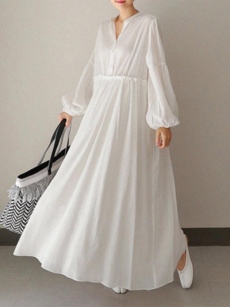 Lässige Plissee-Puff-Ärmel-Taste A-Linie Plus Größe Kleid