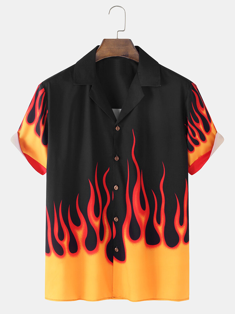 Mens Flame Print Revere Collar Loose Casual Short Sleeve Shirts