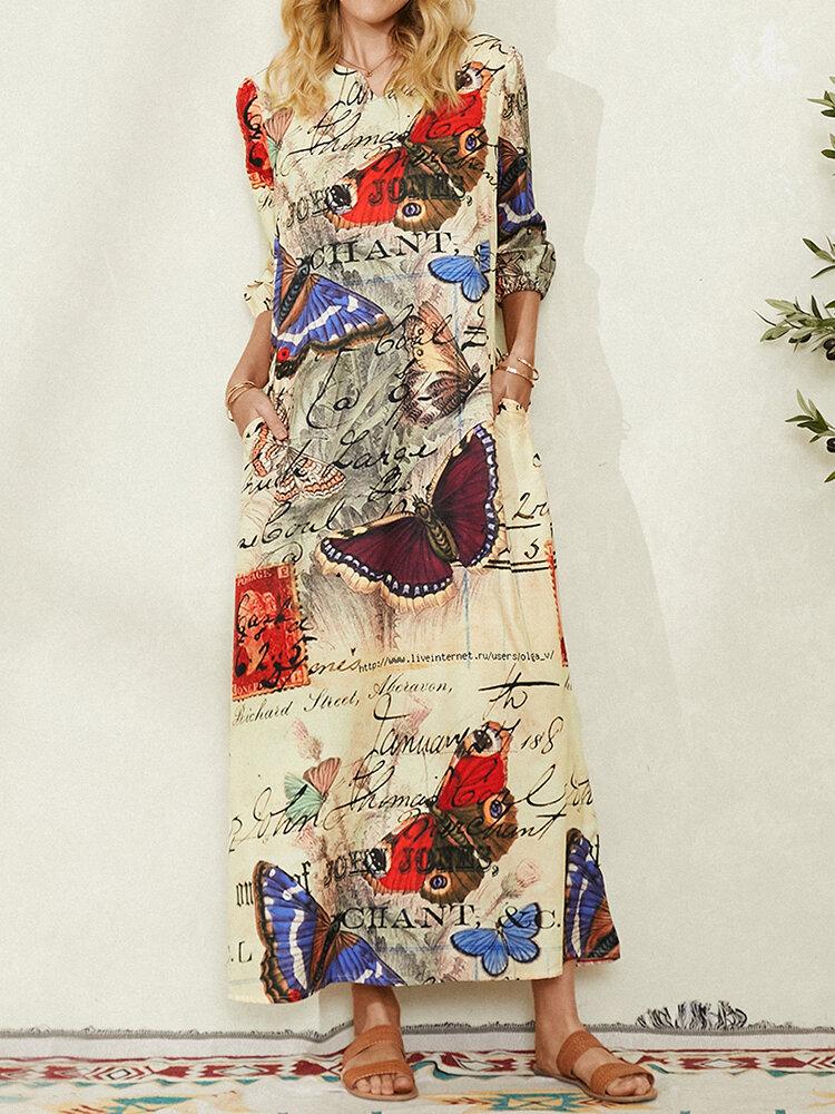 Letzten Schmetterlingsdruck V-Ausschnitt Halbarm Maxi Kleid Für Damen