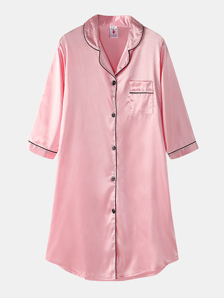 Plus Size Women Ice Silk Chest Pocket 3/4 Sleeve Shirt Cozy Nightdress With Contrast Binding