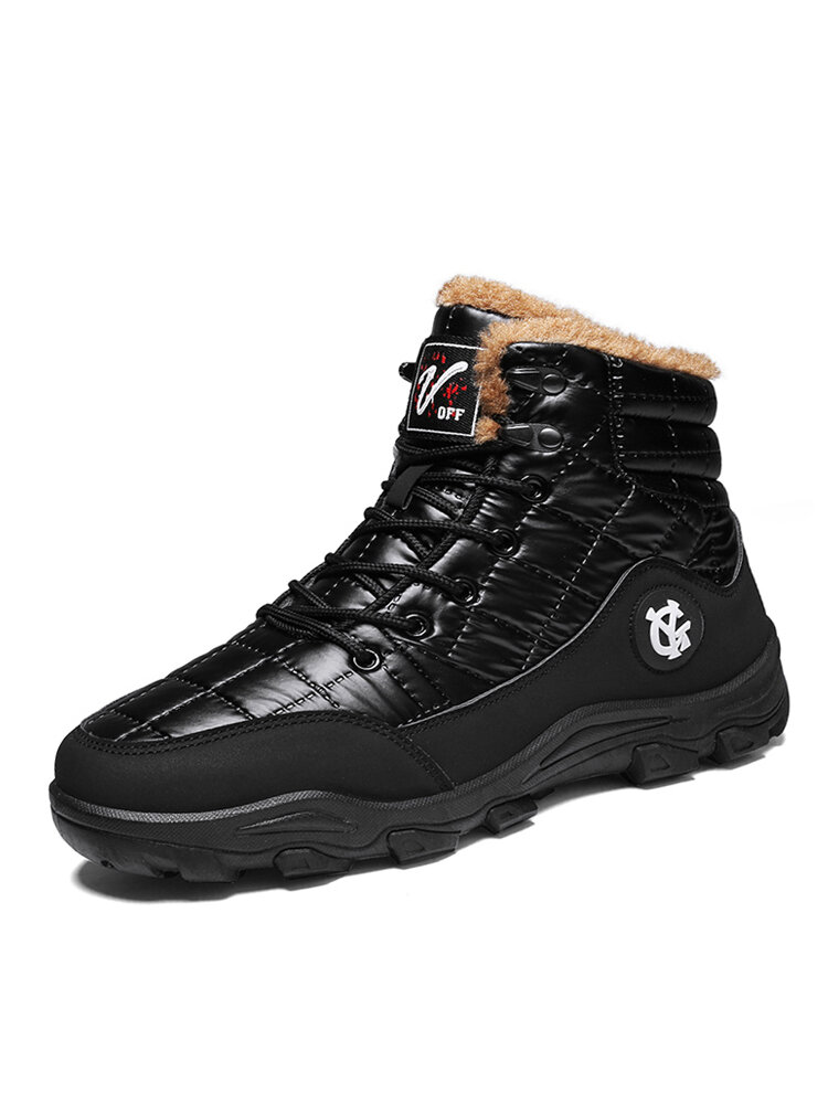 Men Outdoor Non Slip Plush Lining Lace-up High Top Snow Black Boots