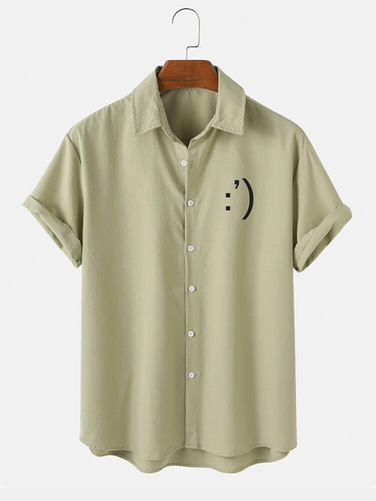Mens Smile Print Button Up Short Sleeve Casual Shirt