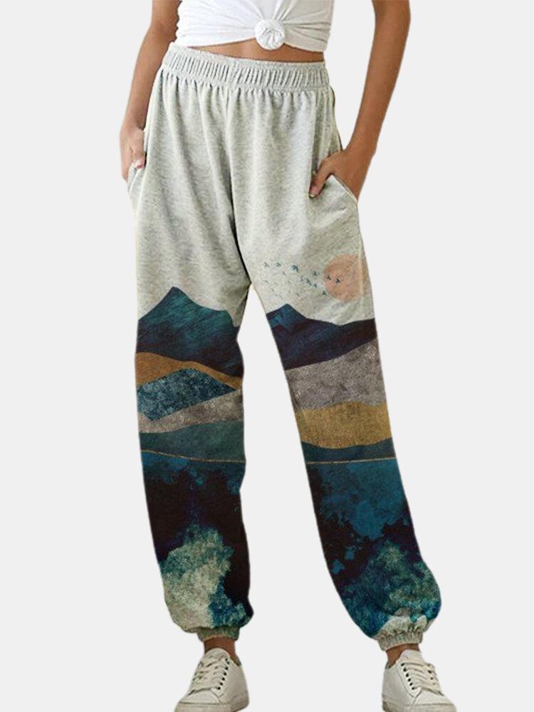 Landscape Printed Elastic Waist Loose Harem Pants For Women