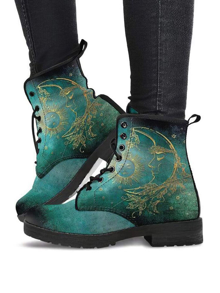 Large Size Women Sun And Moon Pattern Lace-up Block Heel Shoes Casual Platform Tooling Short Boots