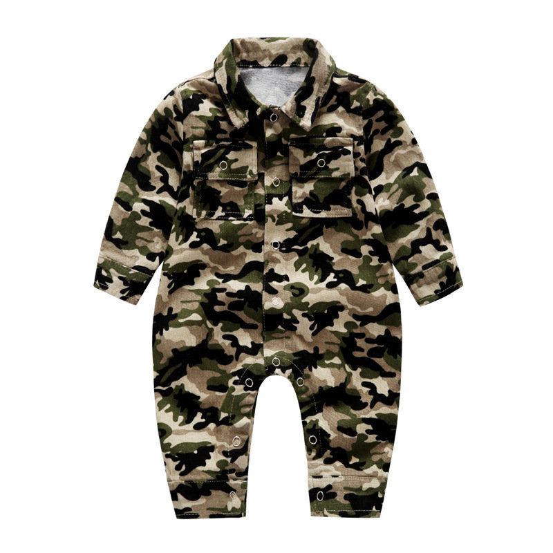 Baby Boy Girls Camo Romper Button Long Sleeve Jumpsuit For 0-24M