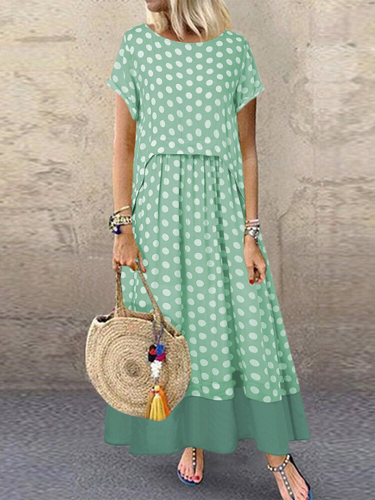 Polka Dot Fake Two Pieces Summer Plus Size Maxi Dress