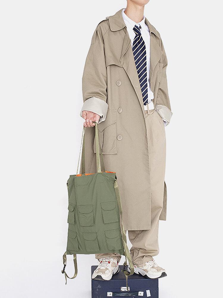 Men Green Sports Ins Stylish Multi-pocket Multi-carry Handbag Shoulder Bag Backpack