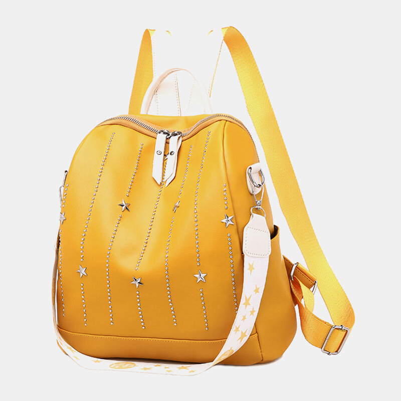Women Star Rivet Waterproof Multi-carry Handbag Shoulder Bag Backpack
