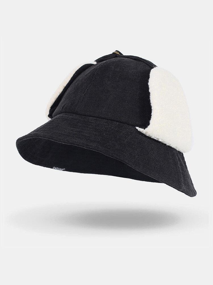 Women Corduroy Plus Hat Circumference Ear Protection Tie Keep Warm Bucket Hat